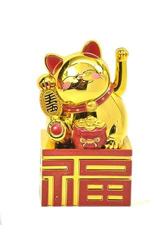 Feng Shui Golden Lucky riqueza gato sentado en fortuna