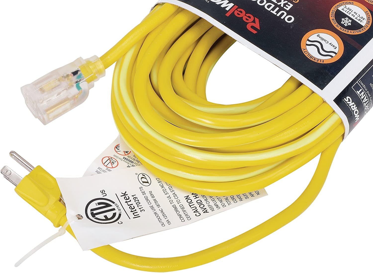 REELWORKS Extension Cord Long 50 FT Heavy Duty Commercial Premium Grade 14AWG SJTOW Cable Single Light Up Tap w//Glow Strip For Indoor /& Outdoor Ultra Flexible Weather UV Oil Acid Ozone Resistant