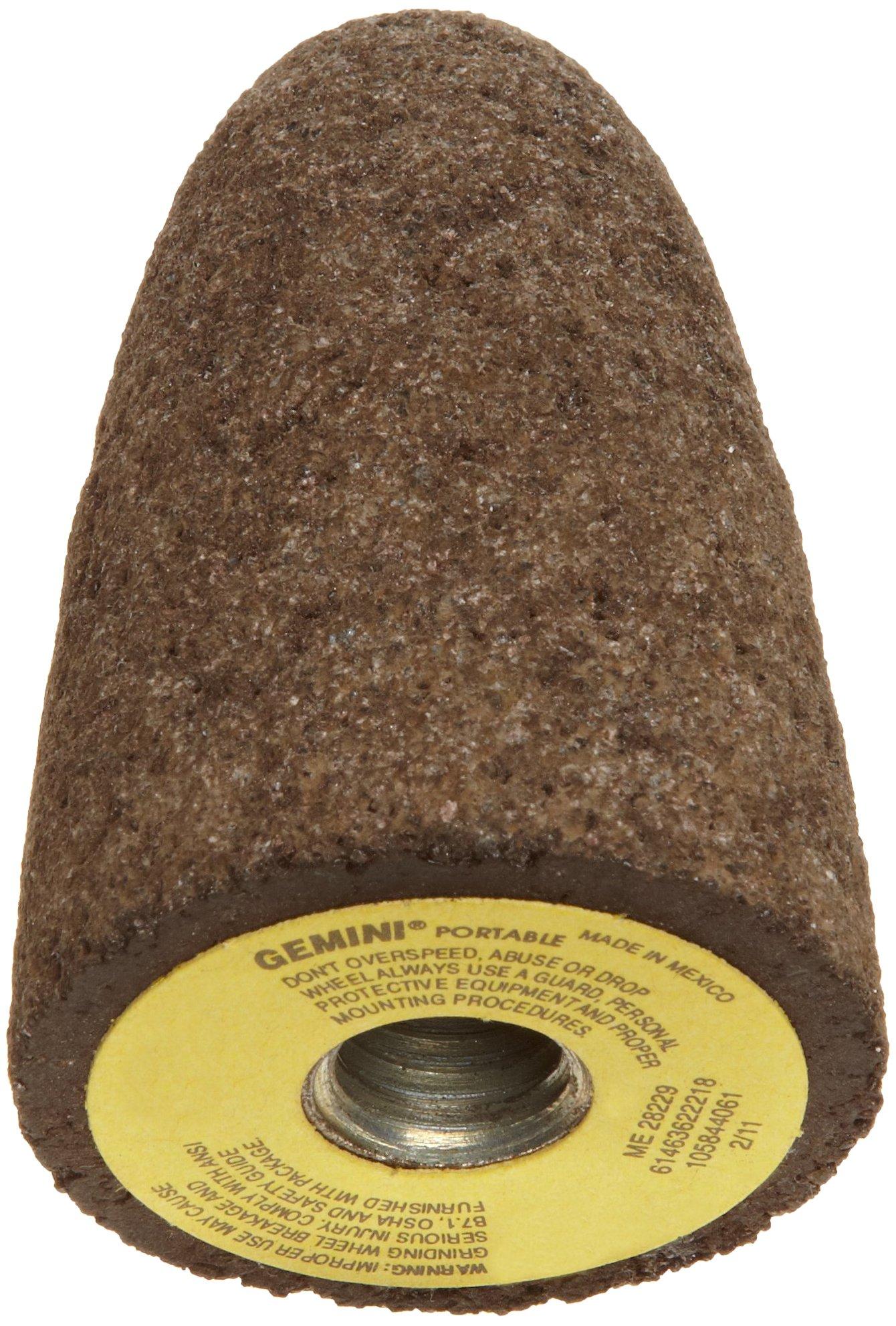 Norton Gemini Snagging Abrasive Cone Type 16, Aluminum Oxide, Square Tip, 5/8''-11 Arbor, 1-1/2'' Diameter, 3'' Thickness, 24 Grit (Pack of 10)