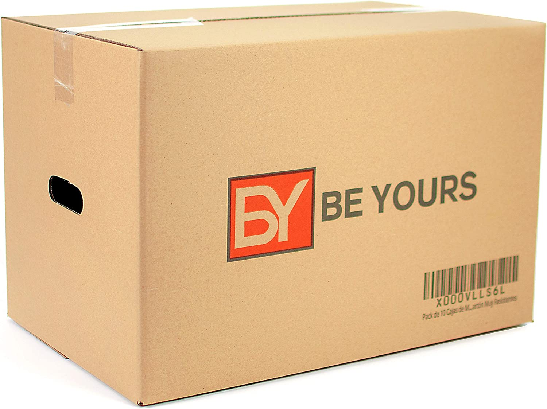 BEYOURS Pack de 10 Cajas Carton Mudanza Grandes con Asas - 500x300x300 mm - Cajas Mudanza de Carton Doble Ultraresistentes - Cajas Almacenaje ECO-FRIENDLY - Fabricadas en España