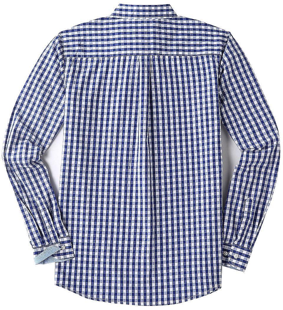 MOCOTONO Mens Long Sleeve Plaid Checkered Button Down Casual Dress Shirts