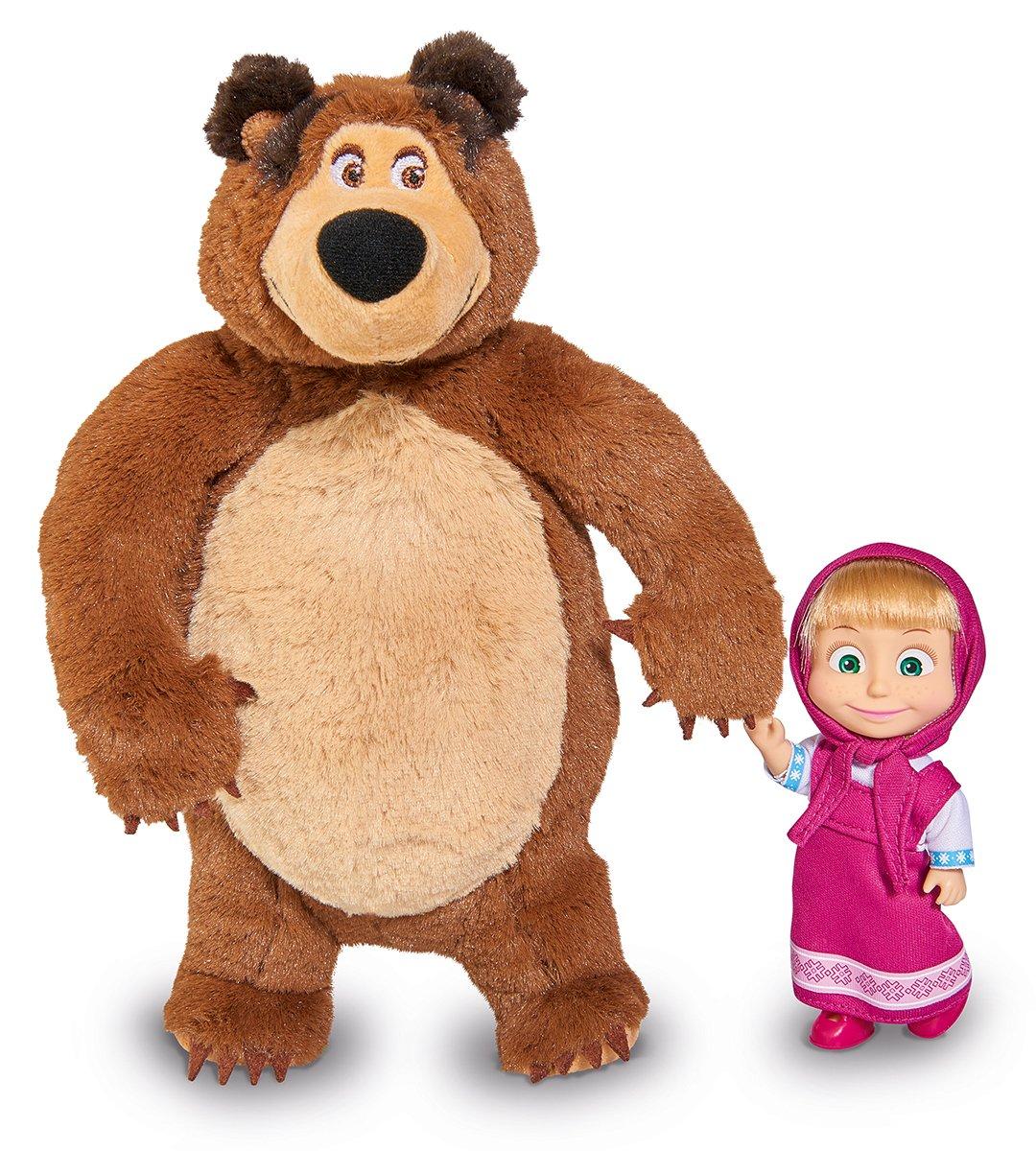 Simba 109301002 - Mascha und Der Bär Set Plüschbär + Puppe, Klein Simba Toys