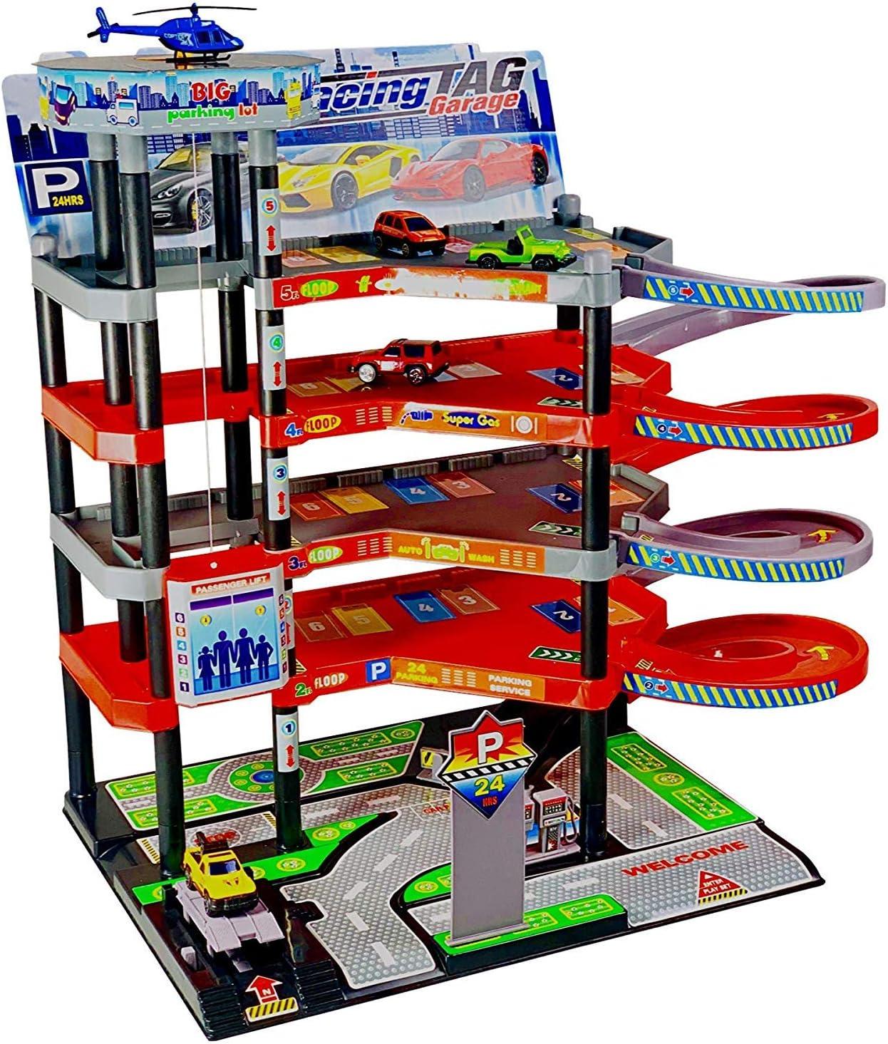 Park Garage Toys for Children with 5 Levels I Car Garage Parking Garage Garage Incl. 4 Toy Cars and Helicopter I Game Set with Petrol Station,
