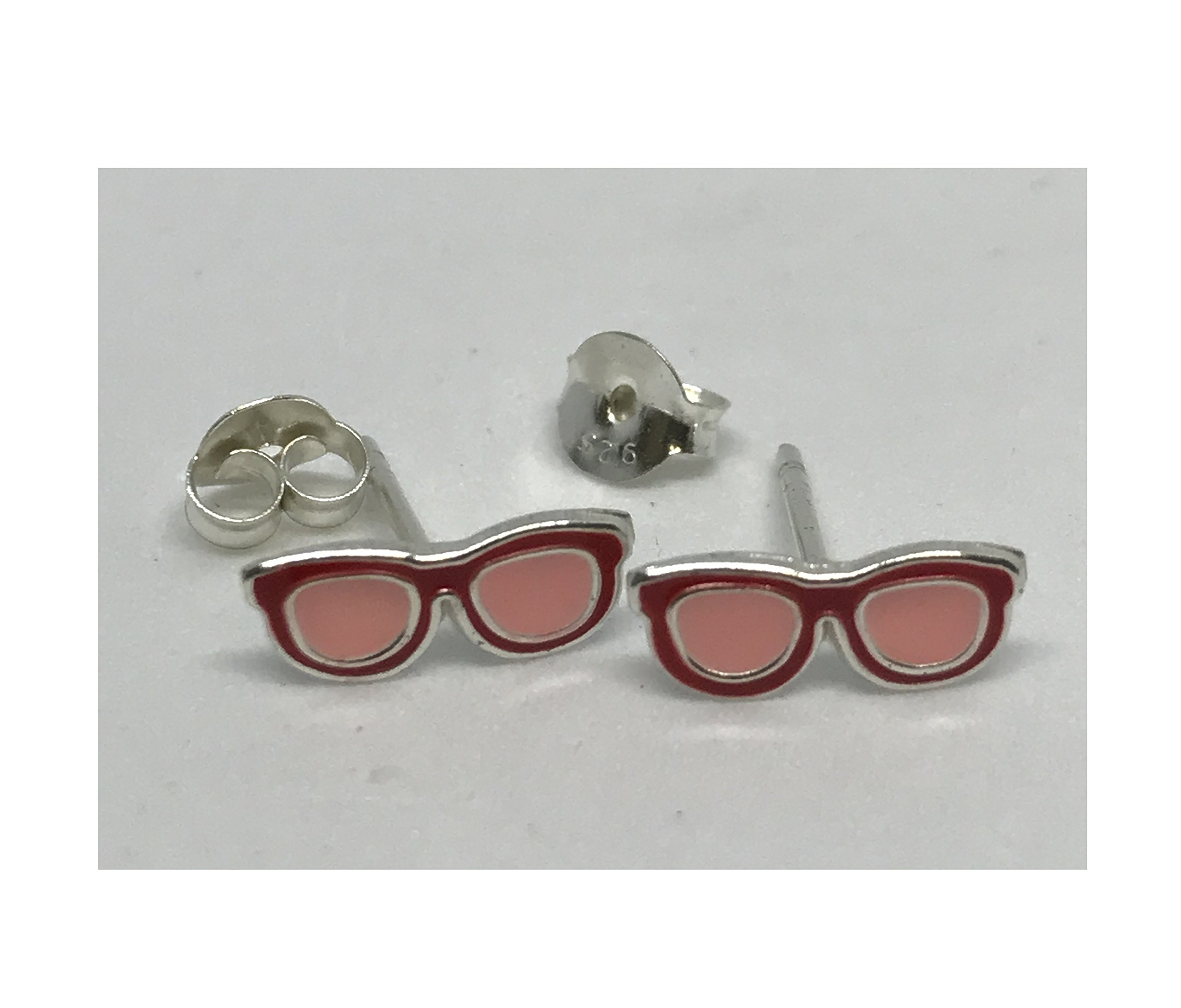 Children's Red Glasses Earrings - Silver Ear Studs with Epoxy