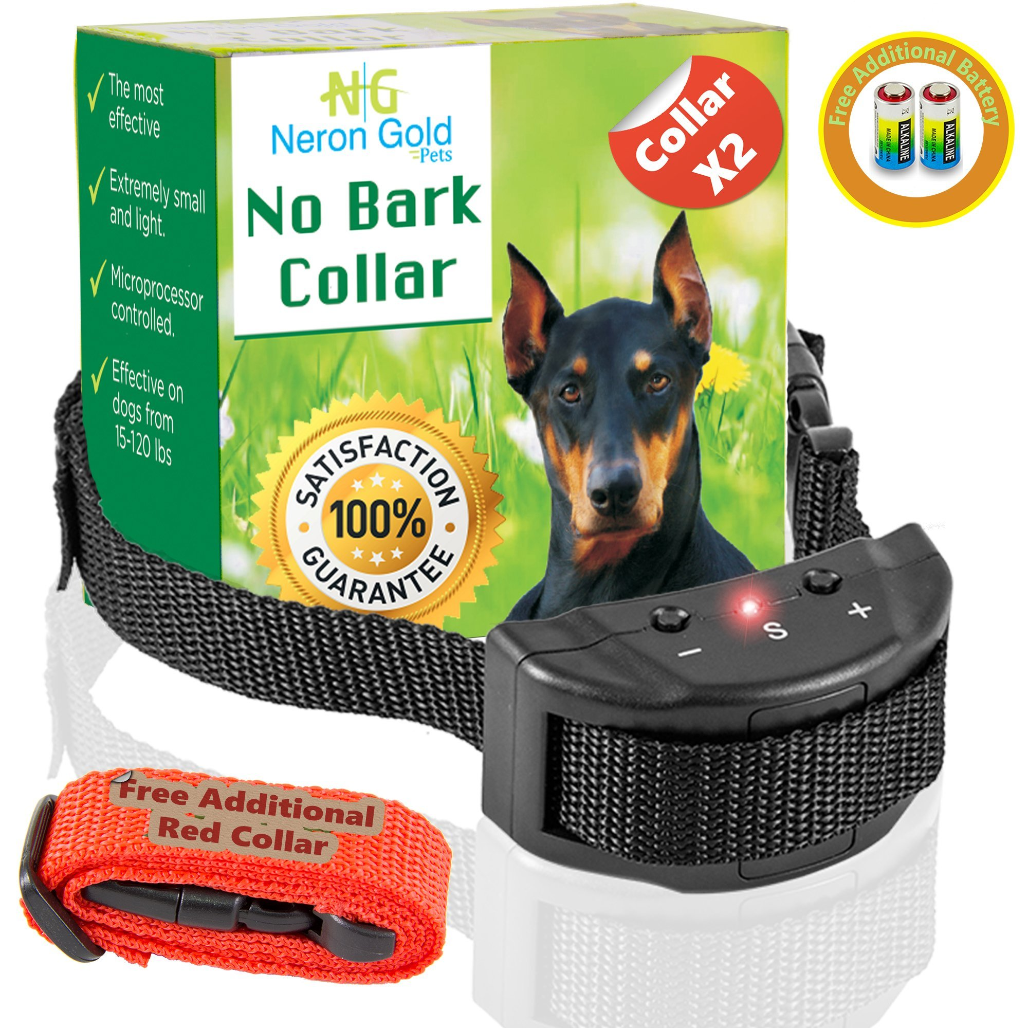 Neron Gold Pets No Bark Dog Collar For Bark Control | 7 Levels of Sensitivity