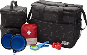 Dpaxt Dog Travel Bag, Tote Food Organizer for Dogs, Travel Set Pet Aid Kit case (Empty), 2 Food Storage Containers, 2 Collapsible Bowls, 1 Collapsible Food Scoop, Poop Bag Dispenser (Black)