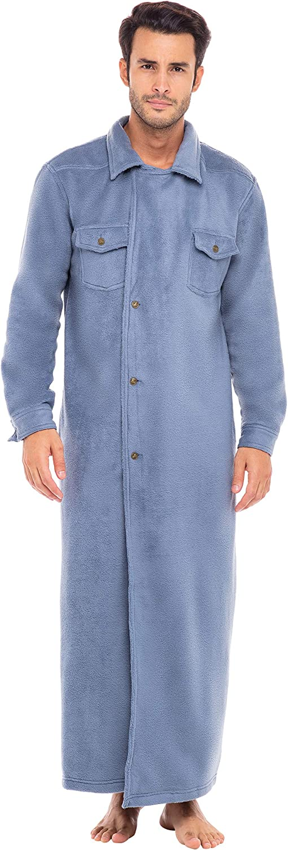 1930s Men's Clothing Alexander Del Rossa Men's Fitted Fleece Robe with Buttons $34.99 AT vintagedancer.com