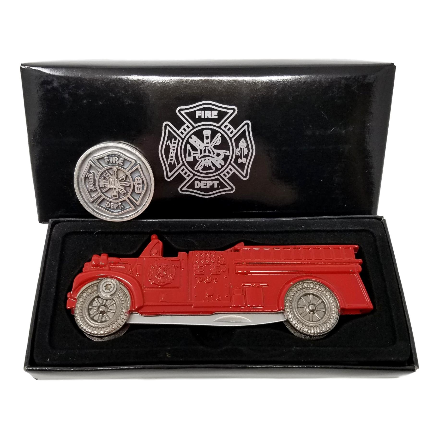 Firefighters Gifts For Men or Women - Firemans Gifts of Prayer Coin & Firetruck Pocket Knife Bundle
