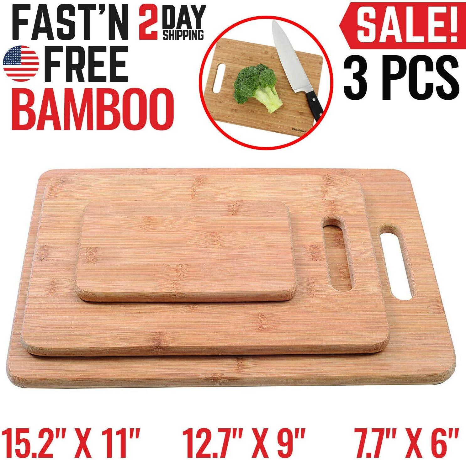 Kitchen Bamboo Cutting Board Set Wood Small Large Big Serving Chopping Block