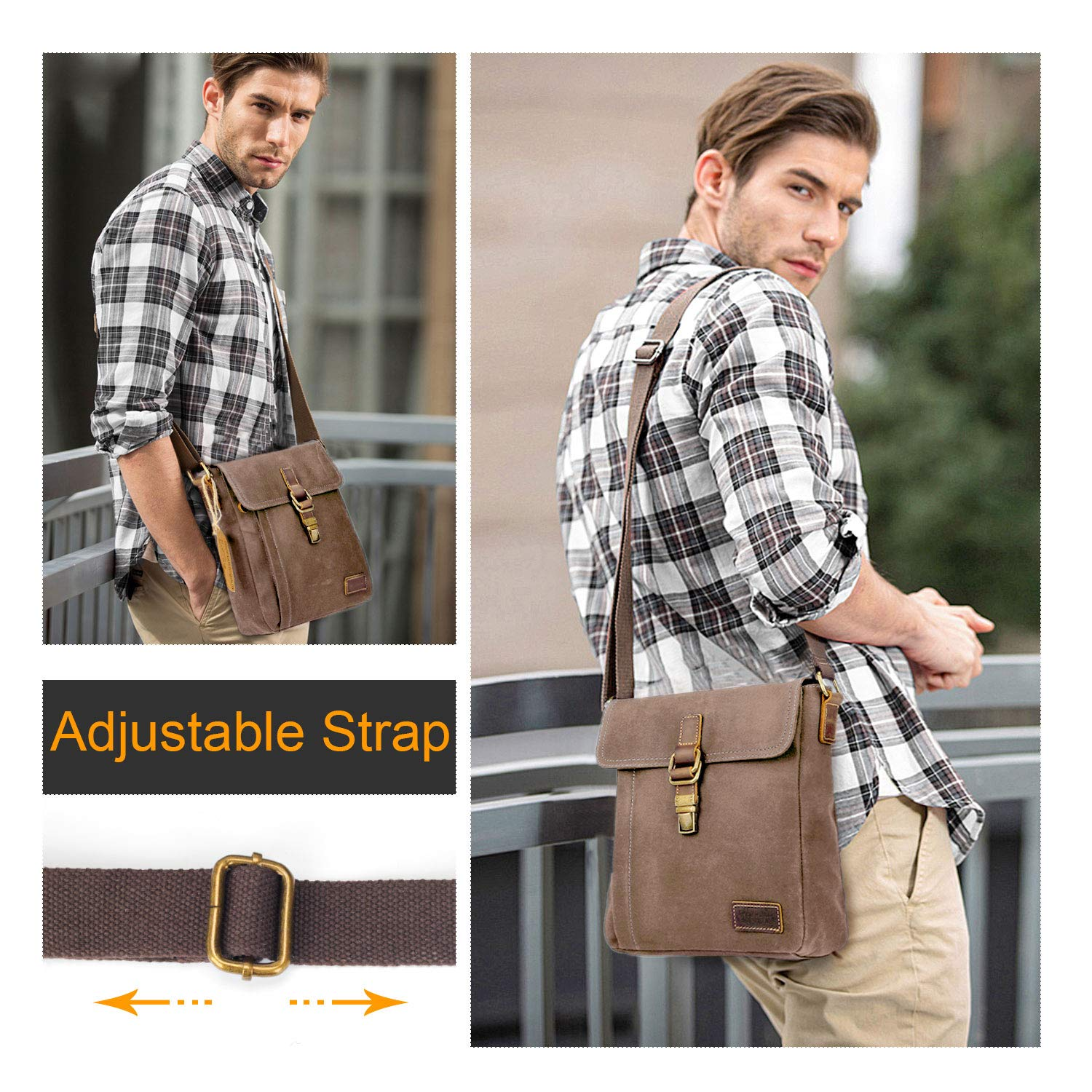 Manificent Messenger Bag, Water-resistant Canvas Shoulder Bags Anti-theft Brush Crossbody Bags
