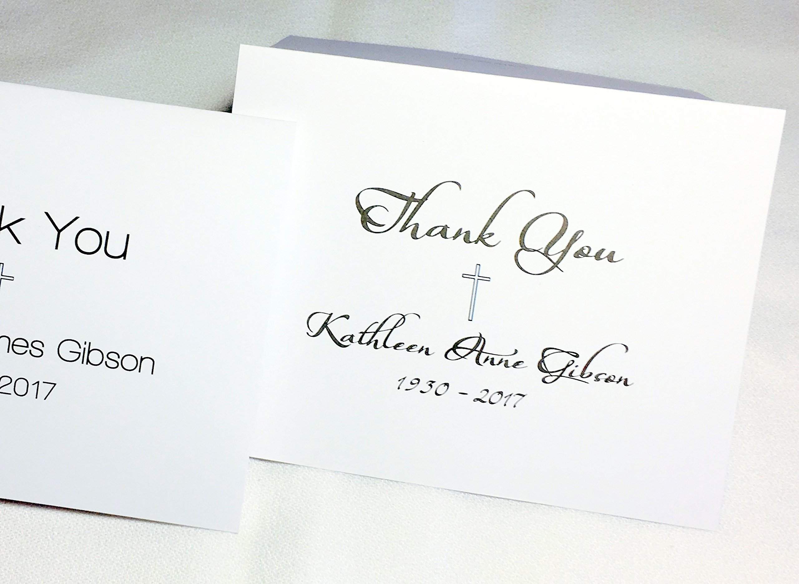 Personalized Note Cards with Name or Initials. Funeral Thank You Notes, Memory Cards, Sympathy Cards. Choose Set of 20 or 50 Plus Matching Envelopes. Blank Inside (20 Pack Script Font)