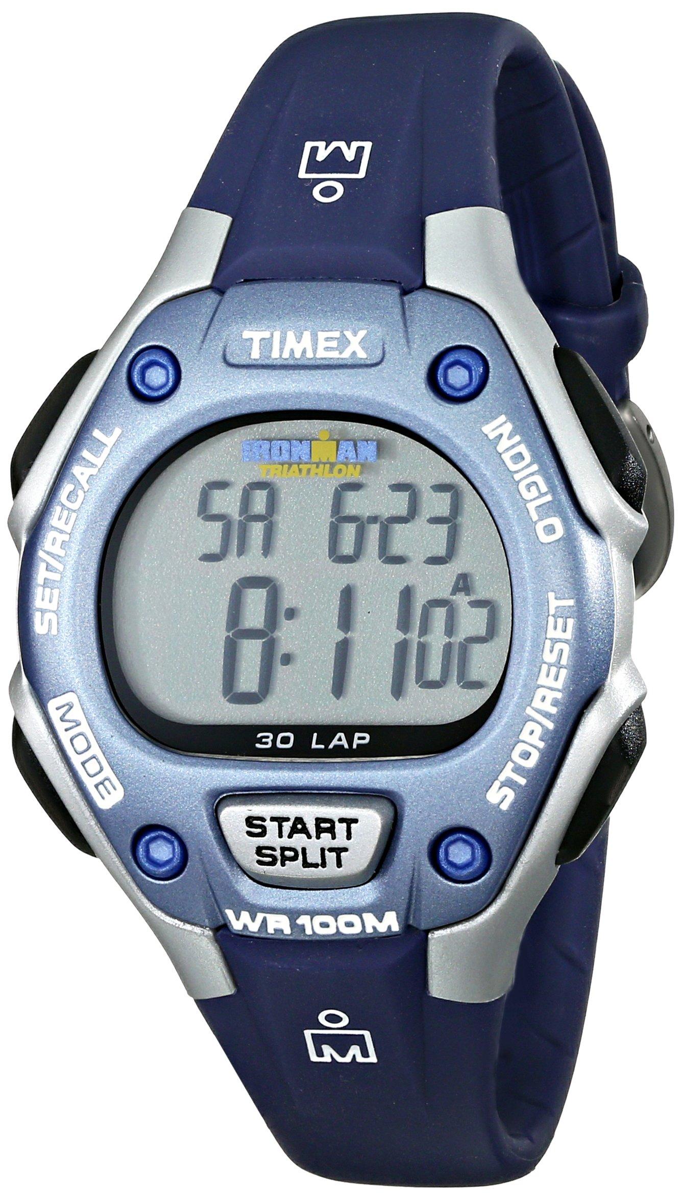 Timex Women's Ironman 30-Lap Digital Quartz Mid-Size Watch, Blue/Silver-Tone - T5K018