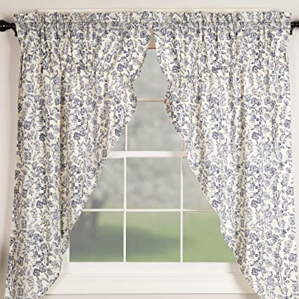 Sensational Piper Classics Doylestown Blue Floral Prairie Curtains Gathered Swags 63 Long Bue Cream Flower Print Vintage Farmhouse Country Cottage Window Home Remodeling Inspirations Genioncuboardxyz
