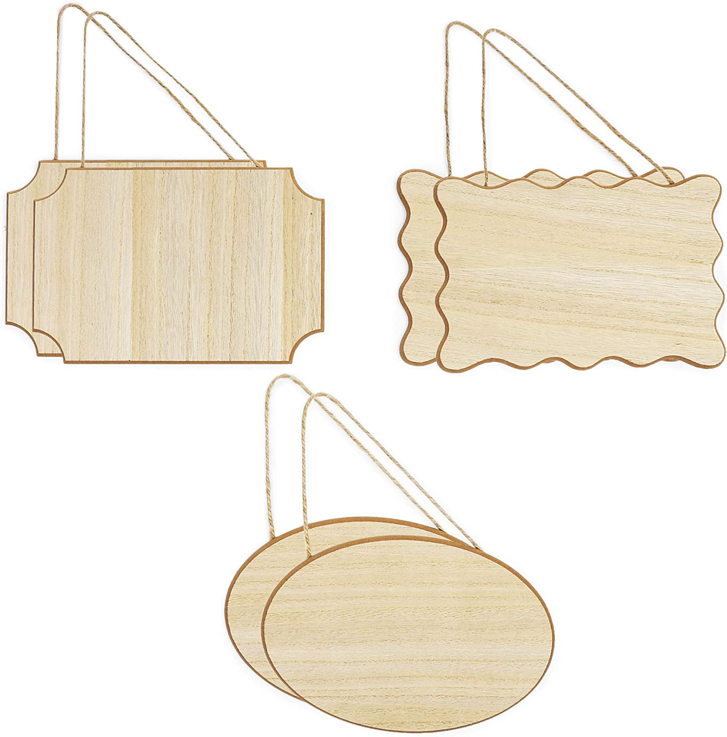 Unfinished Hanging Wood Signs for Crafts (9 x 6 x 0.25 in, 3 Shapes, 6 Pack)
