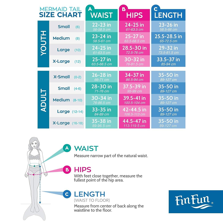 Kinder und Erwachsene Fin Fun Meerjungfrau Flosse zum Schwimmen mit Flosse f/ür M/ädchen Jungen Monoflosse Inklusive