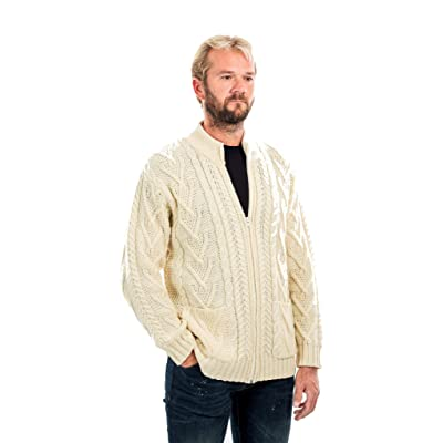 100% Merino Wool Men's Zipper Cable Knit Winter Warm Cardigan Sweater with Pockets in Charcoal/Army Green at Men's Clothing store