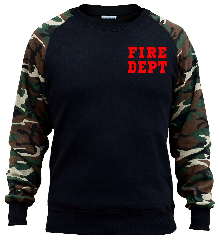 Interstate Apparel Mens Red Fire Dept Chest V485 Black//Camo Raglan Baseball Sweatshirt Black