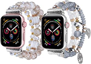 V-MORO Bracelet Compatible with 44mm Apple Watch Bands 42mm Women Fashion Handmade Elastic Stretch Beads Strap Replacement for iWatch Series 5/4/3/2/1 42mm/44mm Girls Blue White