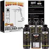 U-POL Raptor Black Urethane Spray-On Truck Bed Liner Kit w/FREE Custom Coat Spray Gun with Regulator, 4 Liters