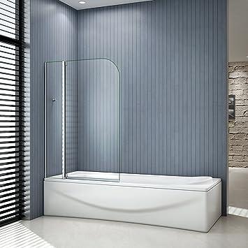 Mampara de ducha de 2 puertas para bañera de 100 x 140 cm, con barra estabilizadora en ángulo y apertura hacia el exterior a 90 grados: Amazon.es: Bricolaje y herramientas