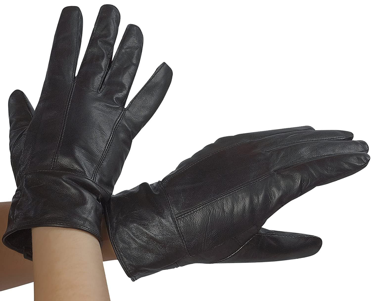 dc6bfc3f3 Classic Womens Black Leather Gloves with Thinsulate Lining by DEBRA  WEITZNER at Amazon Women's Clothing store: