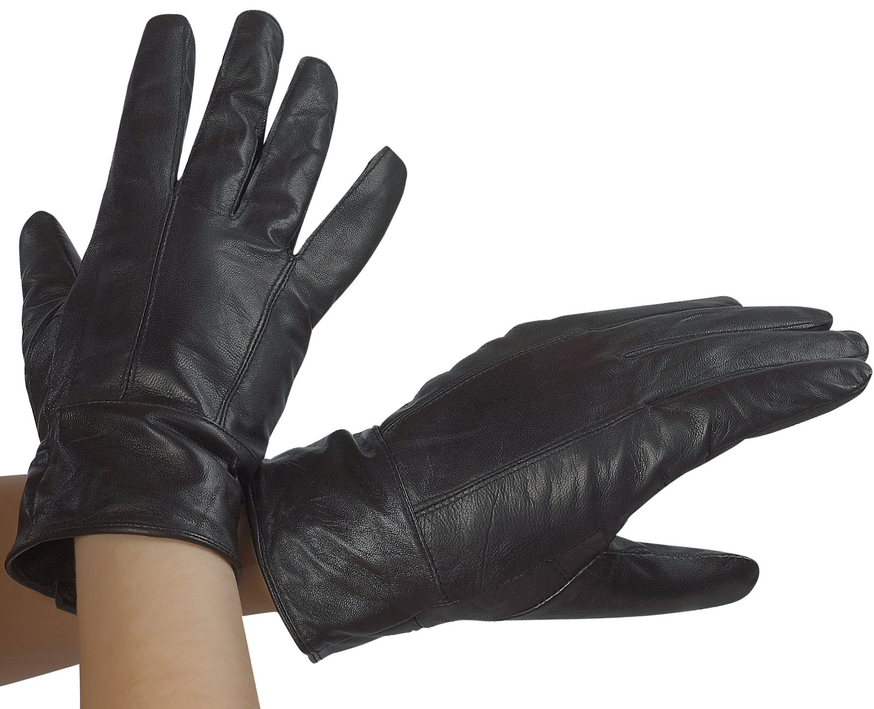 Classic Womens Black Leather Gloves Thinsulate Lining Medium by DEBRA WEITZNER