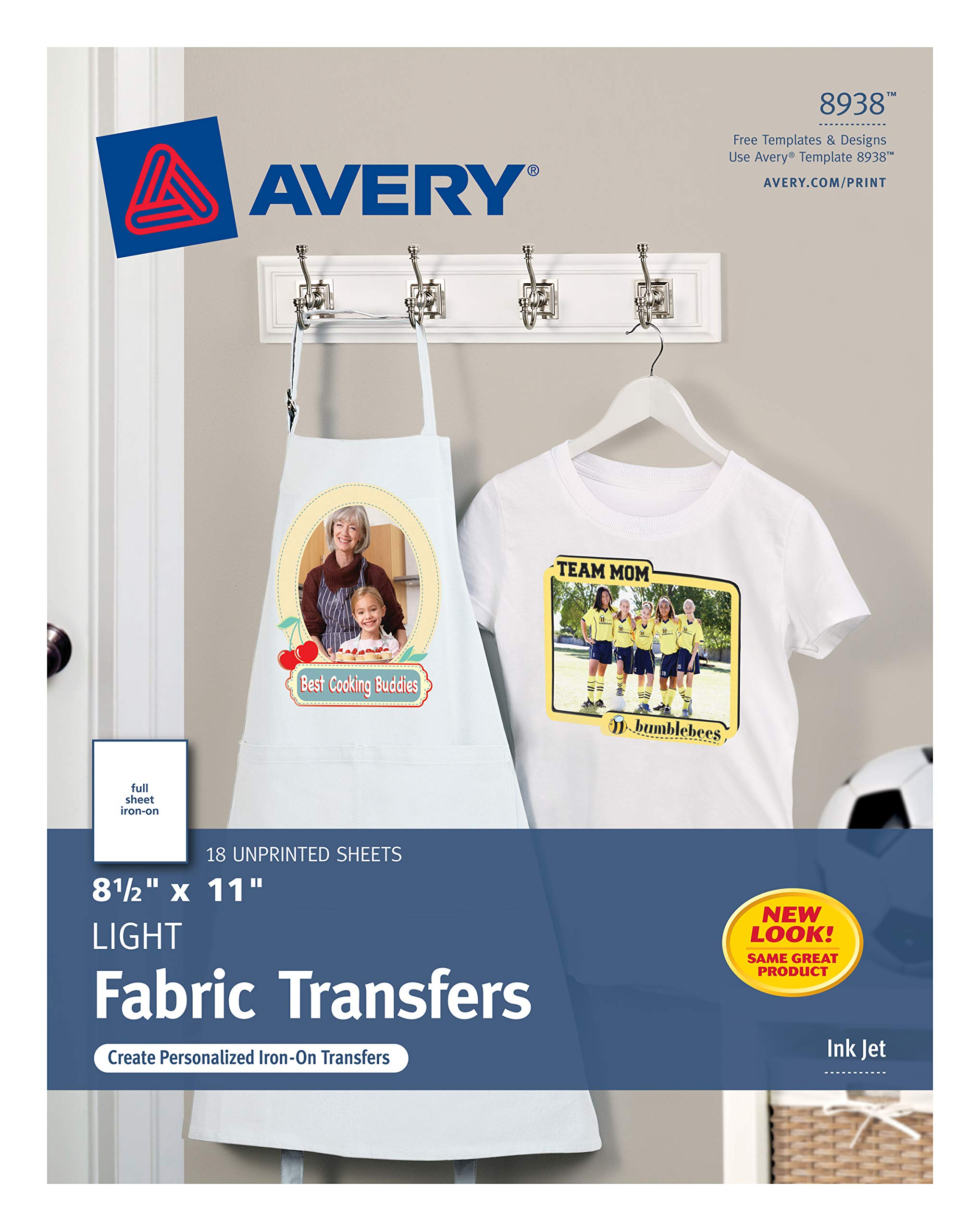 Avery T-Shirt Transfers for Light Fabric, 8.5'' x 11'', 18 Sheets (8938)