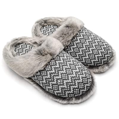 ofoot Women's Cashmere Knit Slippers, Faux Fur Memory Foam Indoor Outdoor Shoes   Slippers