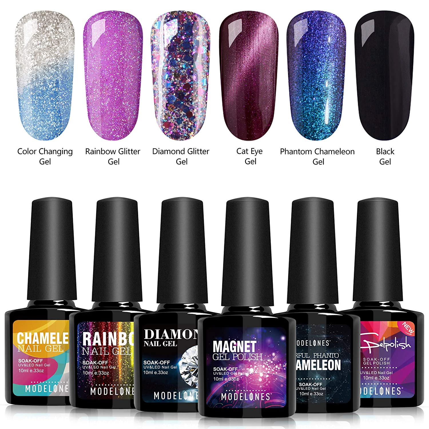 Amazon.com : Modelones Soak Off UV LED Gel Nail Polish Set - 6 Color ...