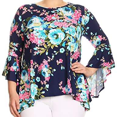 cde471e7c56 BNY Women Plus Size Floral Print Flutter Sleeves Asymmetric Knit Top Tee  Shirt at Amazon Women s Clothing store