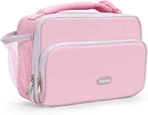 Amersun Insulated Lunch Box for Women,Premium Water-resistant Spacious Adult Lunch Bag Cooler for School Travel Picnic Work Office with Drink Holder & Multi-pockets|Durable Lunchbox(Pink)