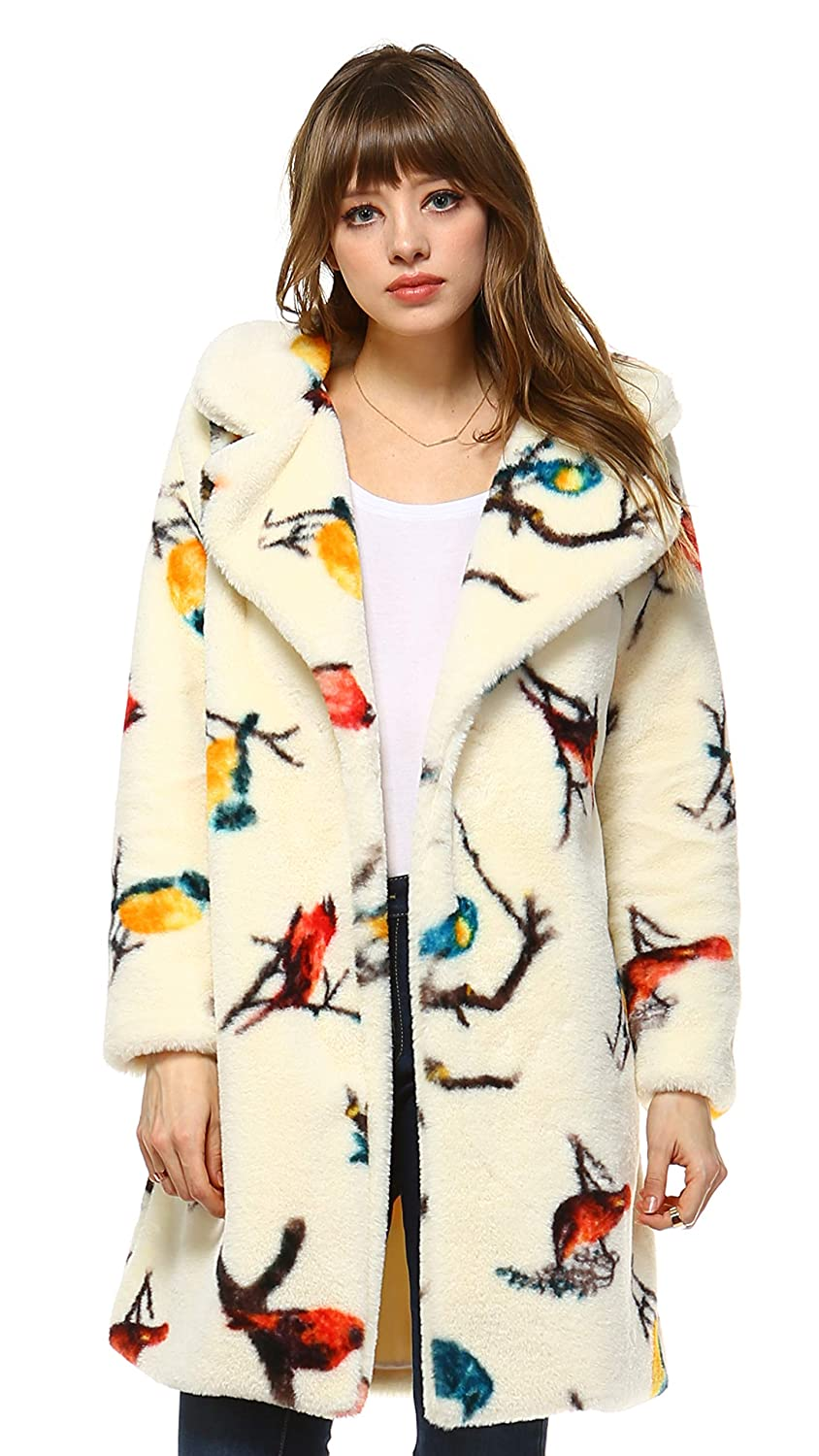 F168 Ivory Melody Faux Fur Jacket with Faux Leather Belt