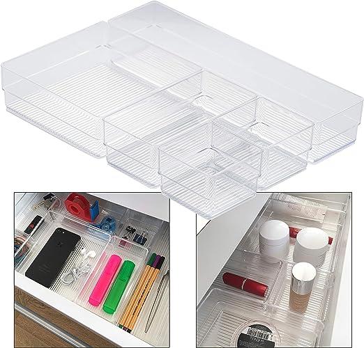 Hausfelder ORDNUNGSLIEBE Schubladen Organizer (5-teiliges Set)  Ordnungssystem zur Aufbewahrung für Küche Büro Schminktisch Kosmetik,  variabel und ...