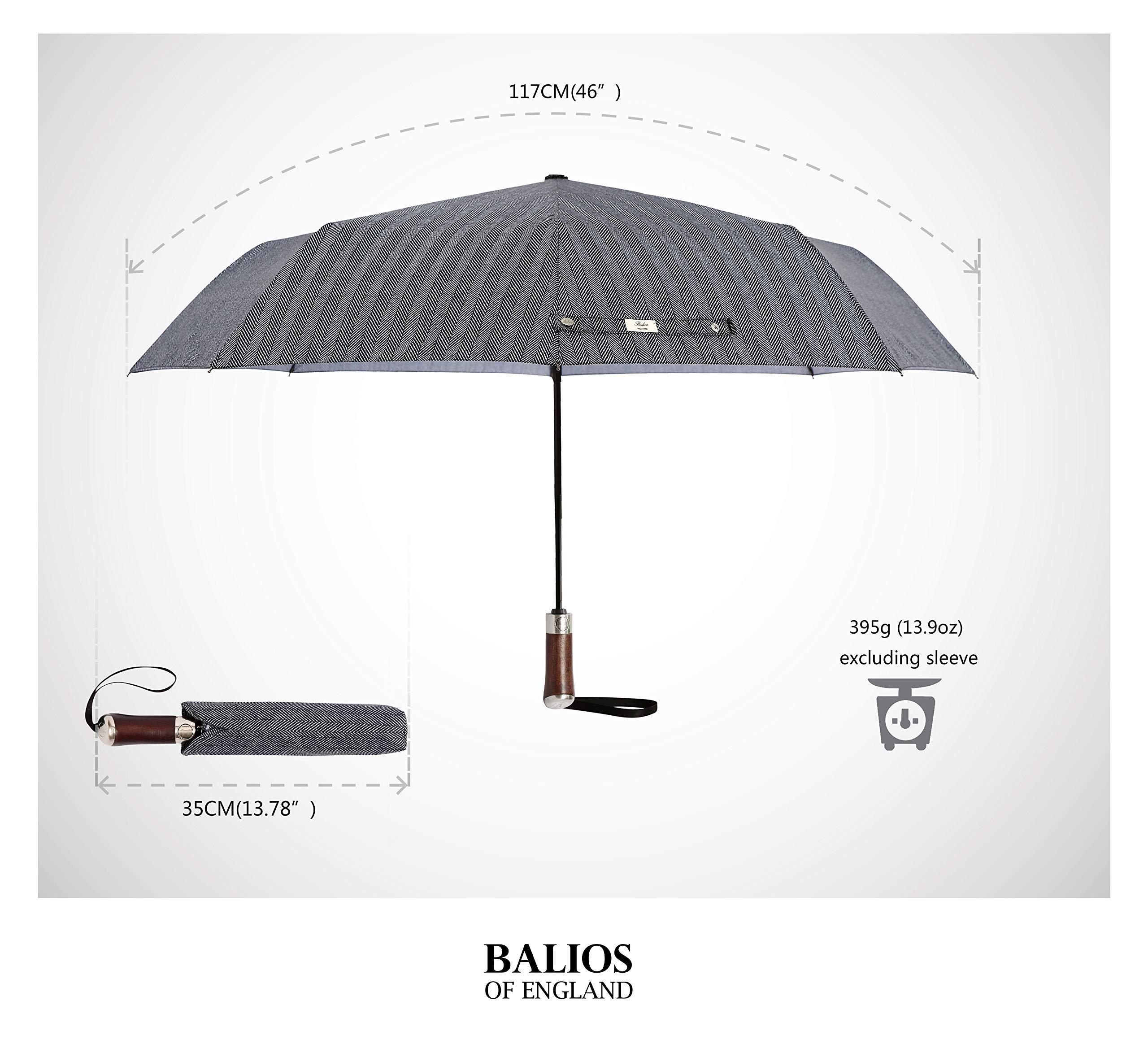 Open 46 Inch Black Folding Umbrellas Windproof Automatic Fast Drying Travel Umbrella 210T Double Canopy Real Wood Handle 10 Ribs Fiberglass