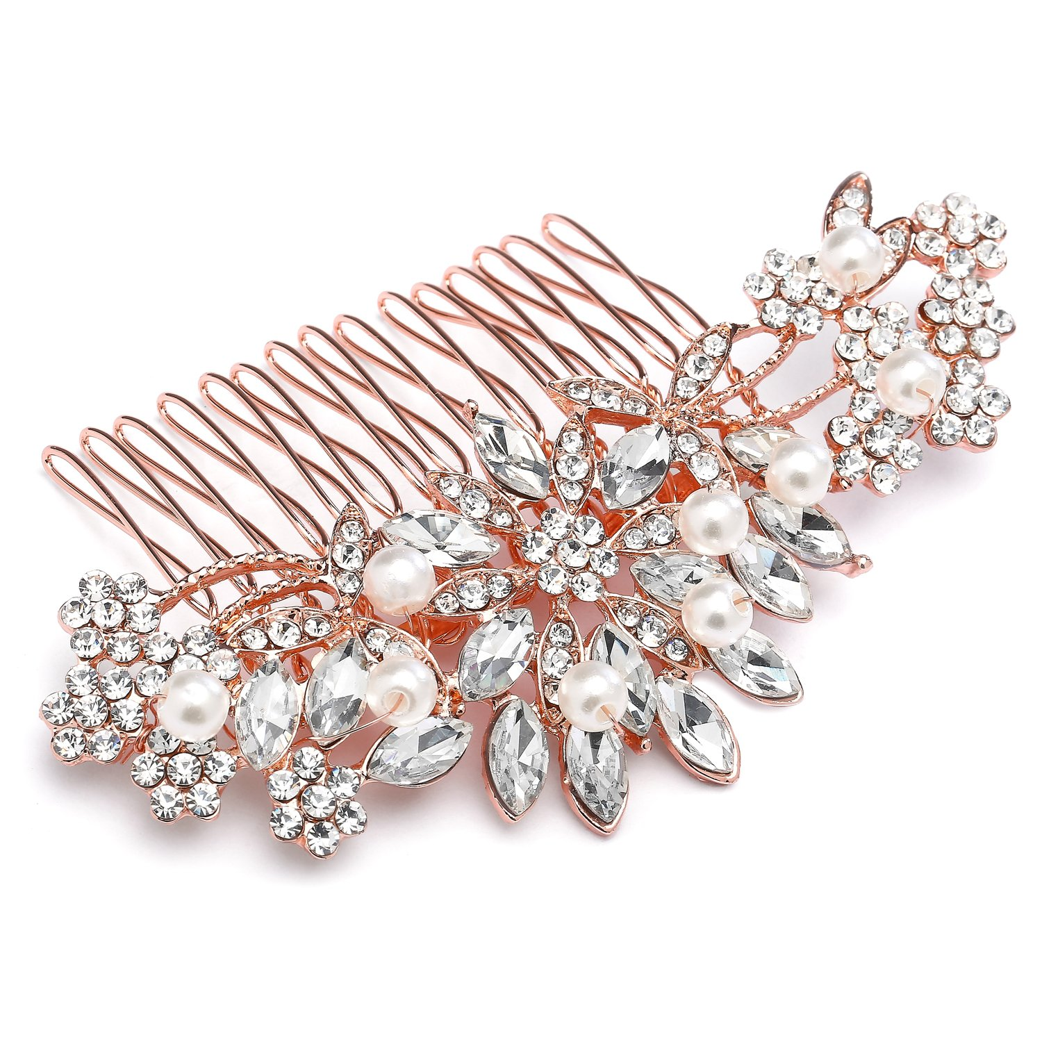 Mariell Vintage Rose Gold Bridal Hair Comb Simulated Pearl Crystal Wedding Hair Accessories by Mariell