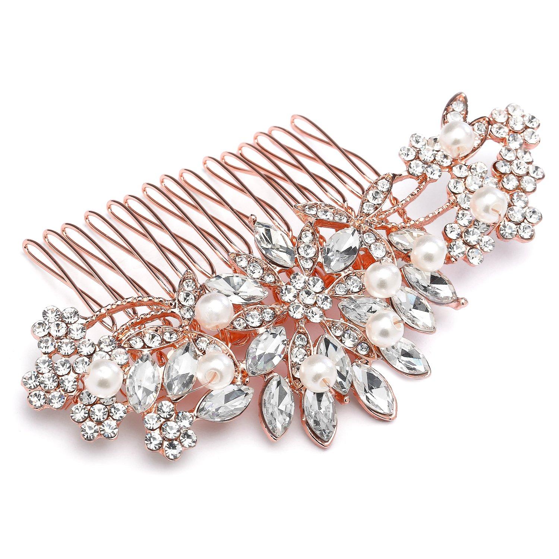 Mariell Rose Gold Vintage Pearl and Mixed Crystal Sunburst Wedding, Bridal, Prom Comb - Retro Glam 4047HC-RG