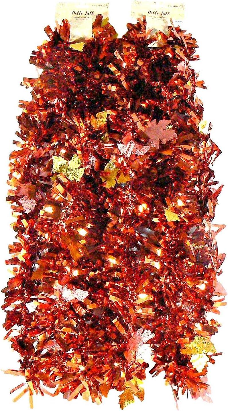 9' Autumn Fall Leaf Tinsel Garland - 2 pc 18 Total Feet (Fall Red)