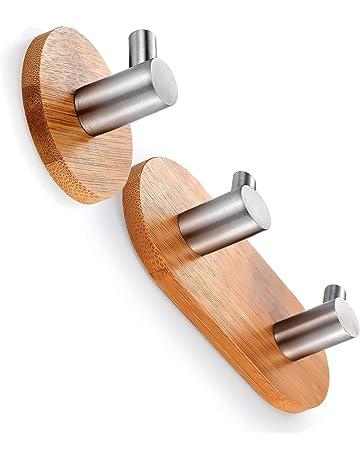 BasicForm Ganchos Adhesivos de Bambú & Acero Inoxidable Ultra Fuerte Adhesivo para Baño y Cocina (
