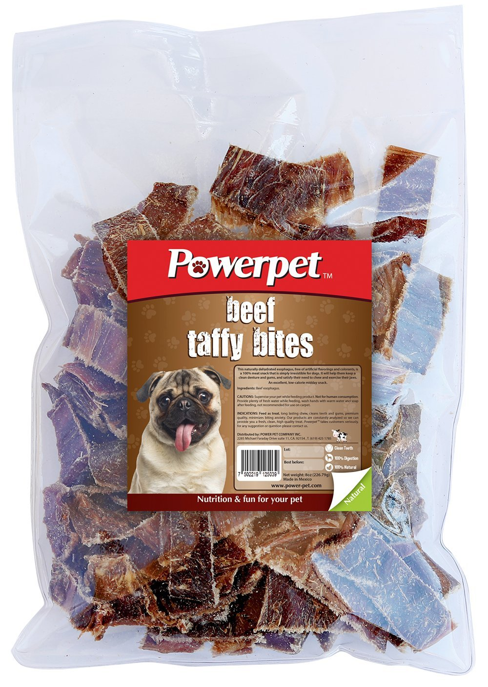 Powerpet: Beef Taffy Bites - Natural Dog Chew - 8 OZ Pack - Helps Improve Dental Hygiene - 100% Natural & Highly Digestible - Protein with Low Fat - Beef Jerky Dog Treat - Made from Beef Esophagus