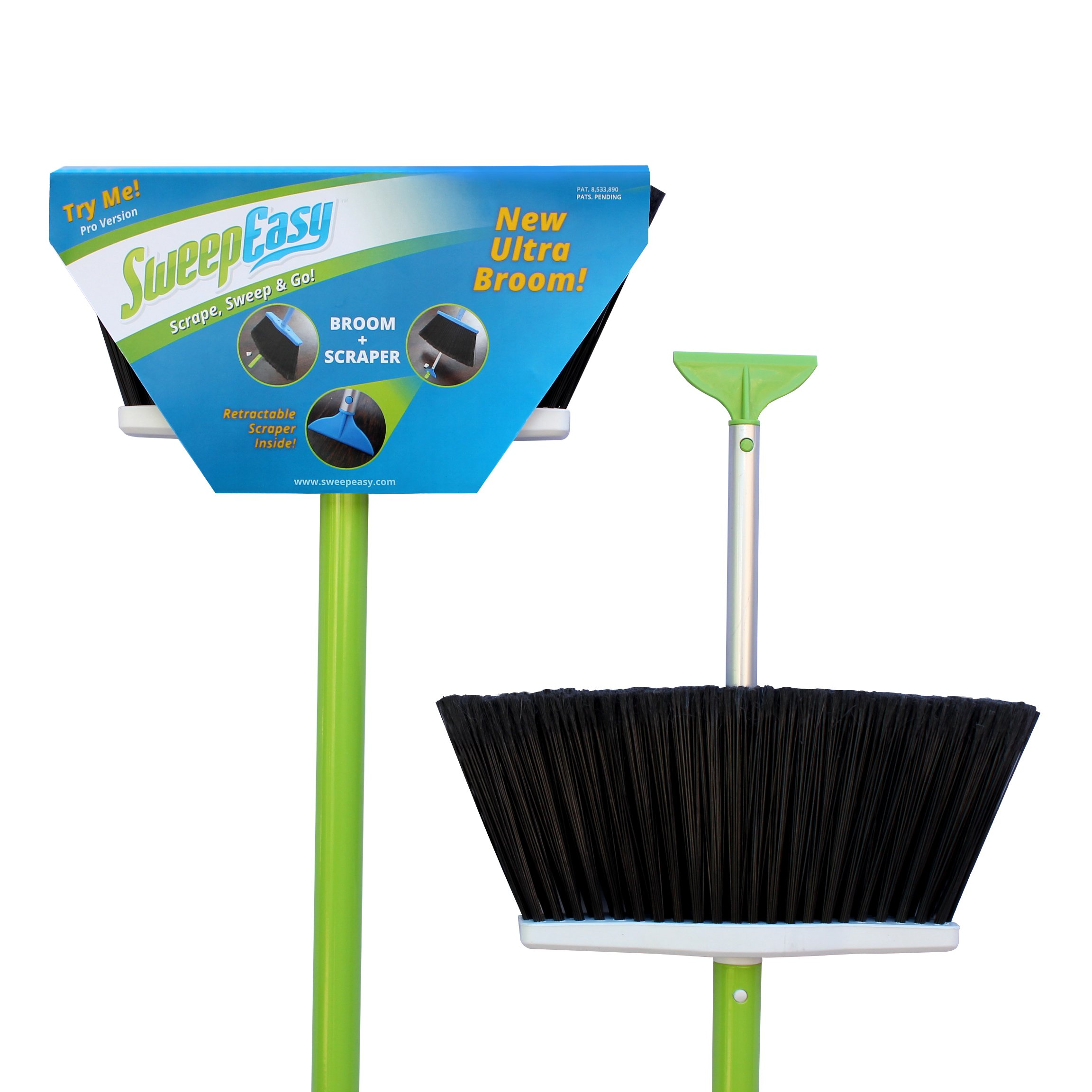 SweepEasy NEW Broom As Seen On Shark Tank. For Indoor and Outdoor Use Retractable Handle With Scraper Making Sweeping Easy With