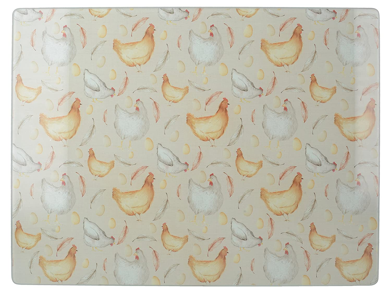 Creative Tops Feather Lane 'Chicken' Toughened Glass Worktop Saver, 40 cm x 30 cm (15.75 x 11.75) - Cream 5225815