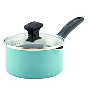 Farberware Dishwasher Safe Nonstick Aluminum Covered Straining Saucepan with Pour Spouts, 1 quart, Aqua