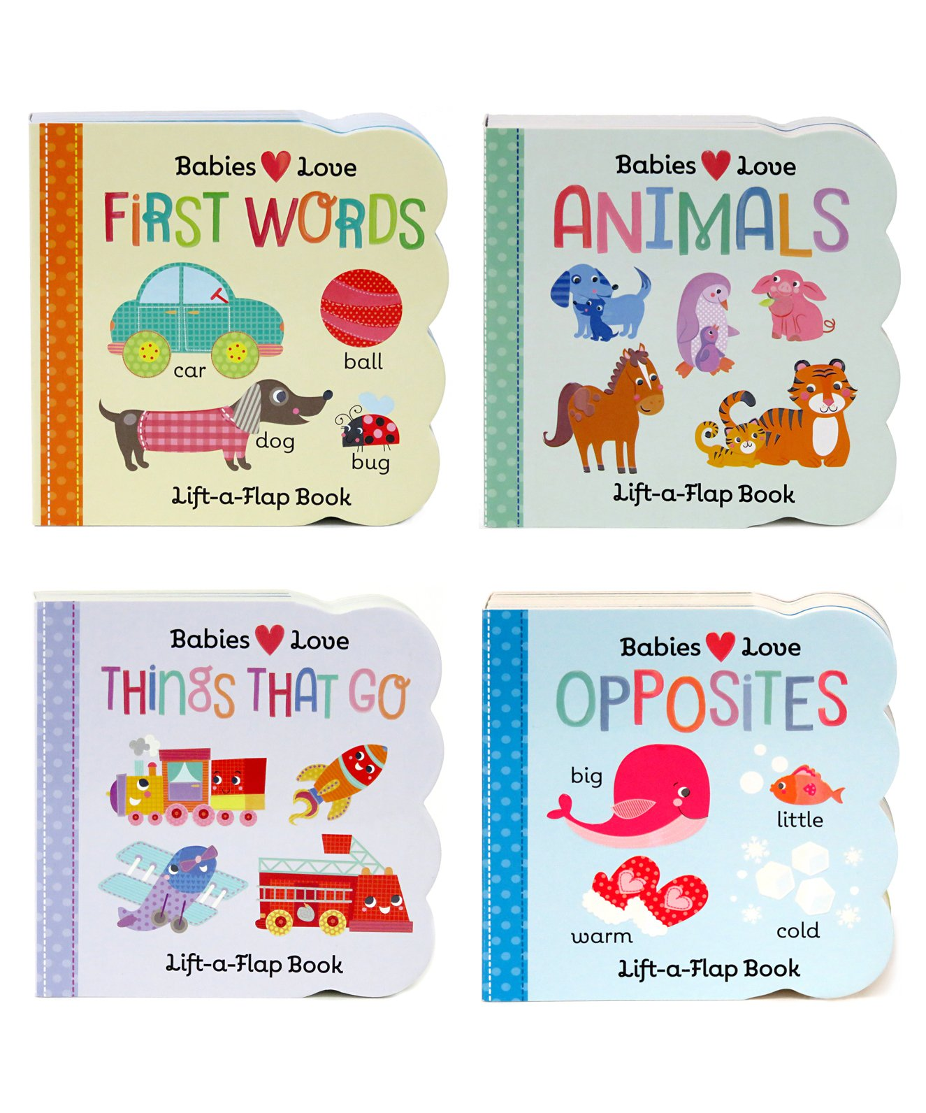 4 Pack Chunky Lift-a-Flap Board Books: First Words/Animals/Opposites/Things That Go (Babies Love) by Cottage Door Press (Image #1)