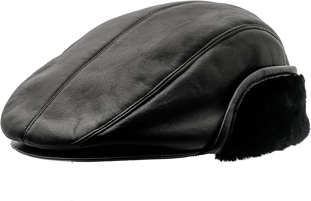 9d7891b53d4d45 Genuine Leather Winter Flat Cap with Ear Flap. Sterkowski Genuine Leather  Winter Flat Cap with Ear Flap US 6 3/4 Black