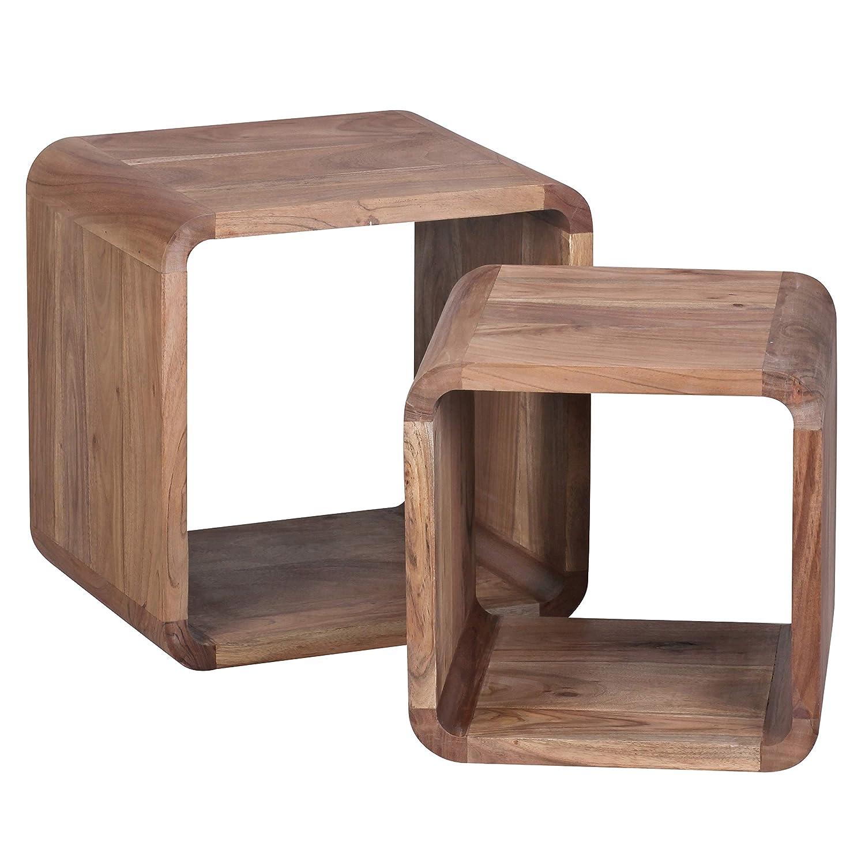 FineBuy 2er Set Satztisch Massiv-Holz Akazie Wohnzimmer-Tisch Landhaus-Stil Cubes Beistelltisch Würfel-Regal Natur-Holz dunkel-braun Würfeltisch Modern Naturprodukt Echt-Holz Couchtisch Unikat