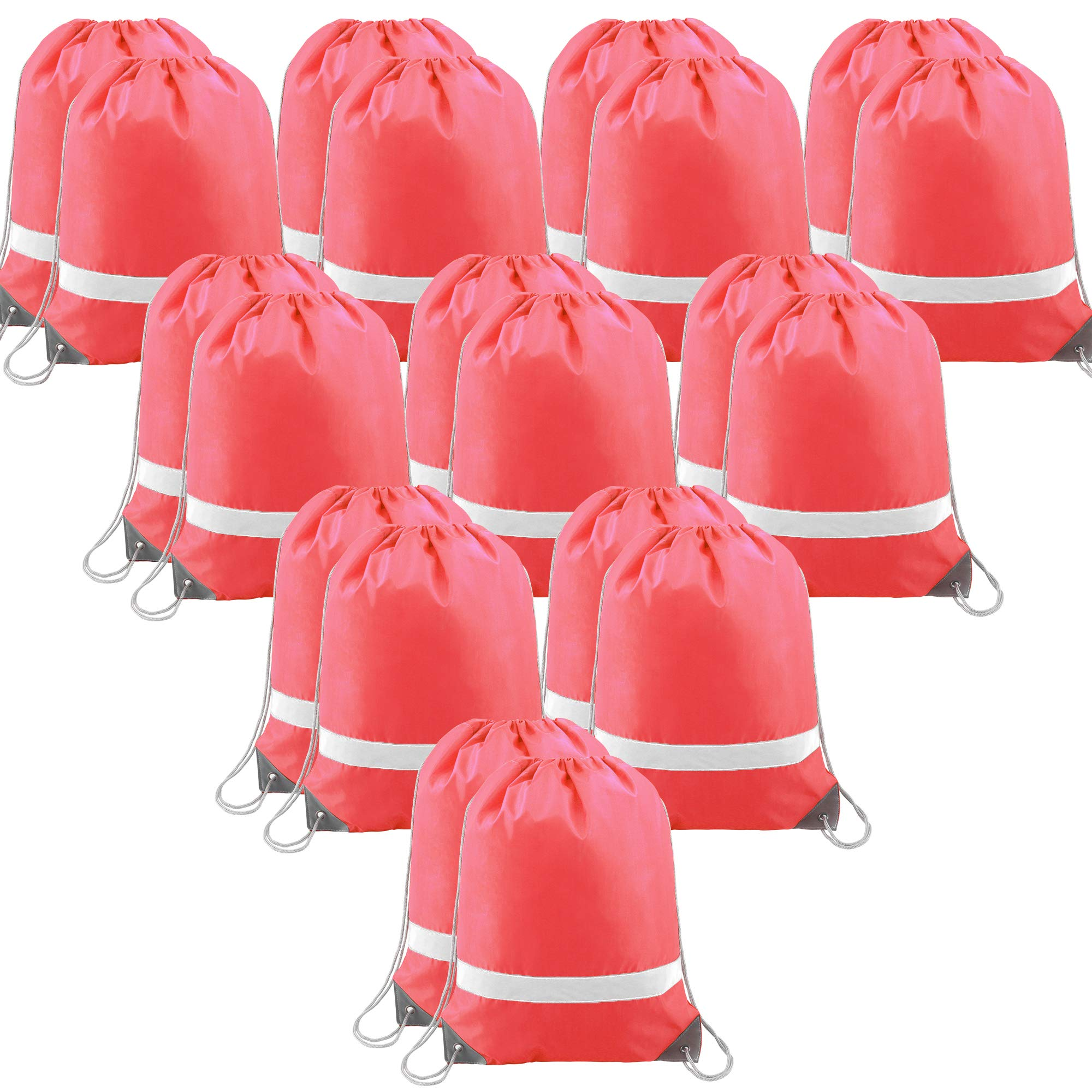 20 Pieces Pink-Drawstring-Backpack-Bags Reflective Gym Sack, Wholesale String Pack Storage Cinch Bags for Kids by BeeGreen