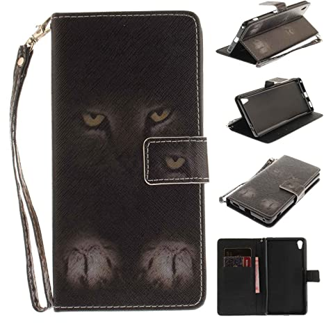Guran® Funda Carcasa Libro de Cuero Flip Case Cover para Sony Xperia XA Ultra Smartphone con Función de Soporte y Cartera - Gato
