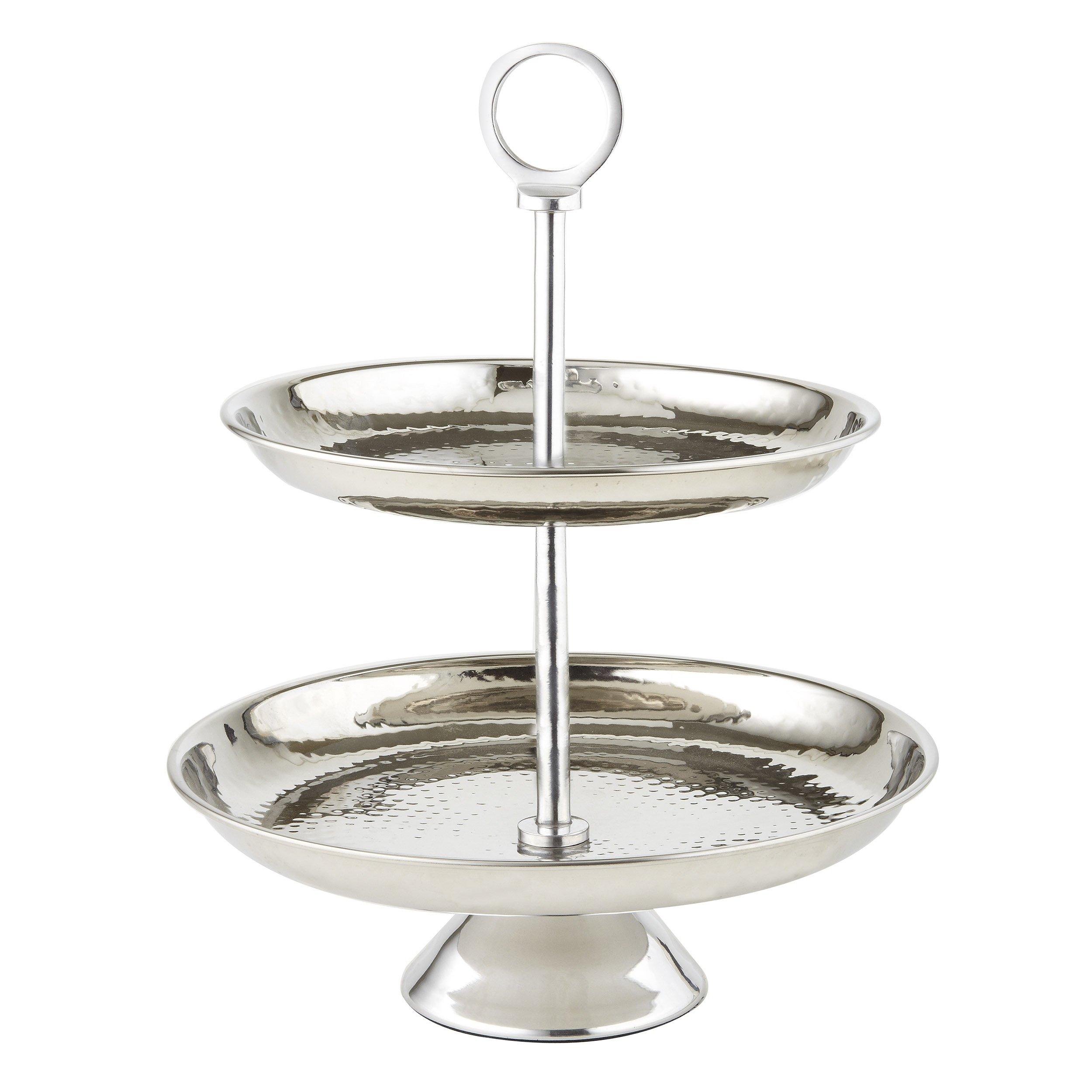 Elegance Stainless Steel Two Tier Tray, Silver
