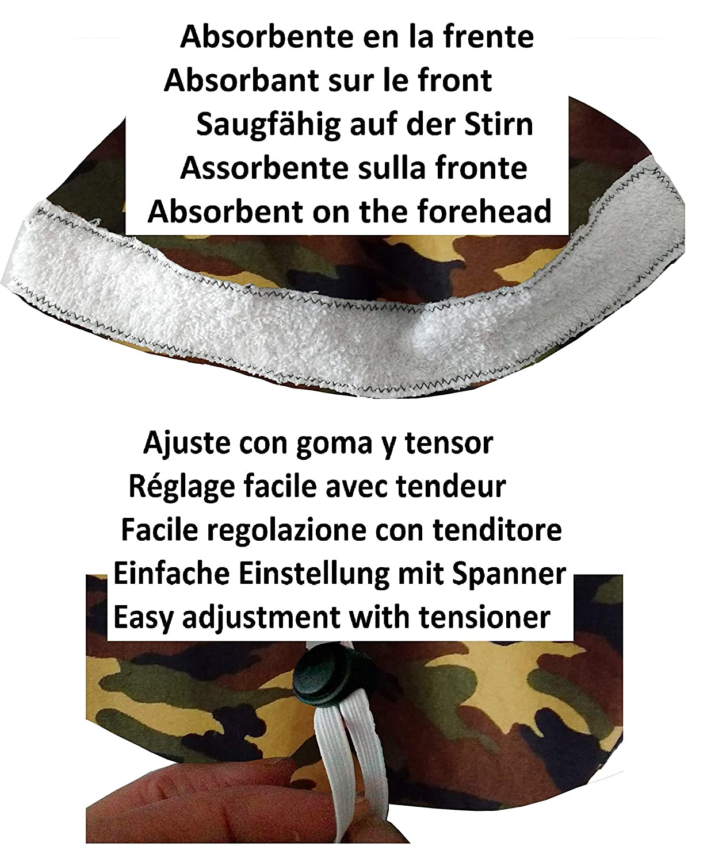 dentista Assorbitore anteriore e regolabile Personalizzato con il tuo nome in opzione Cappello medico Camouflage per capelli lunghi Infermiera veterinaria