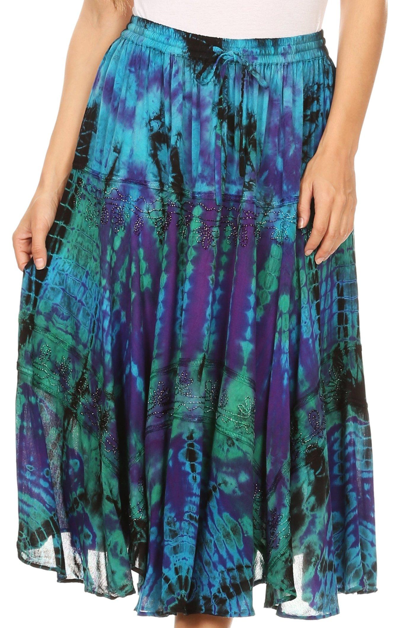 Sakkas 18221 - Justina Womens Dance Midi Full Circle Tie-Dye Skirt With Elastic Waist - Purple/Turq - OS